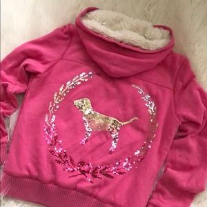 Victoria Secret PINK fur lined hoodie jacket